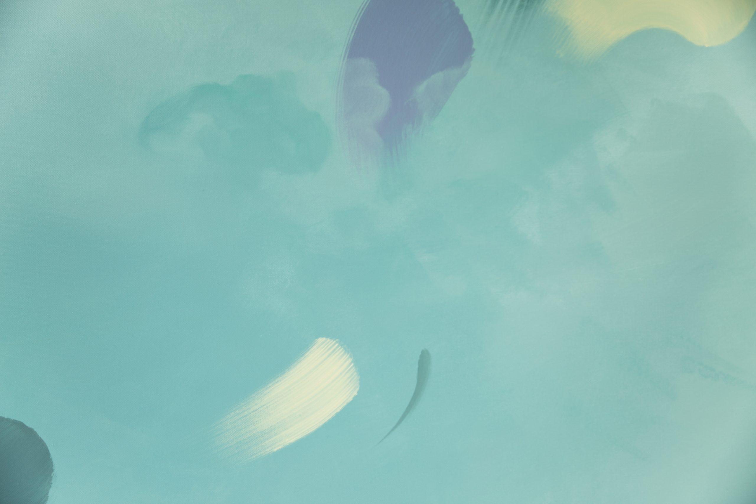 detail tableau art abstrait vert amande