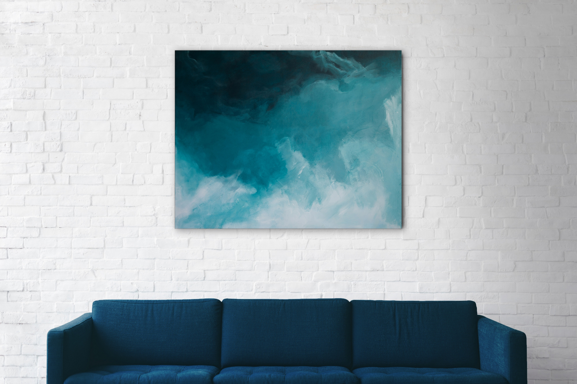 tableau art vague bleu