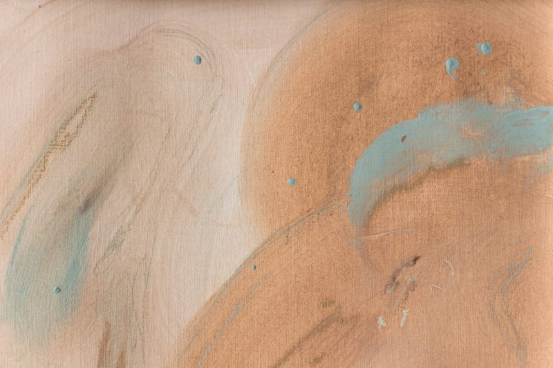 detail tableau art ocre turquoise