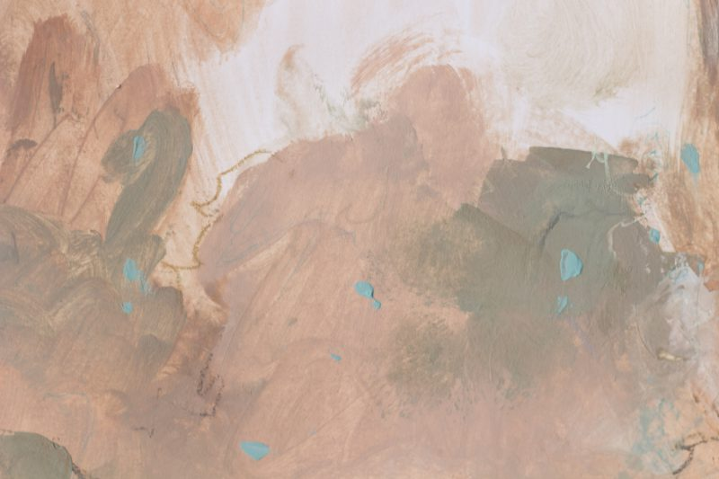 detail painting on paper ocher turquoise
