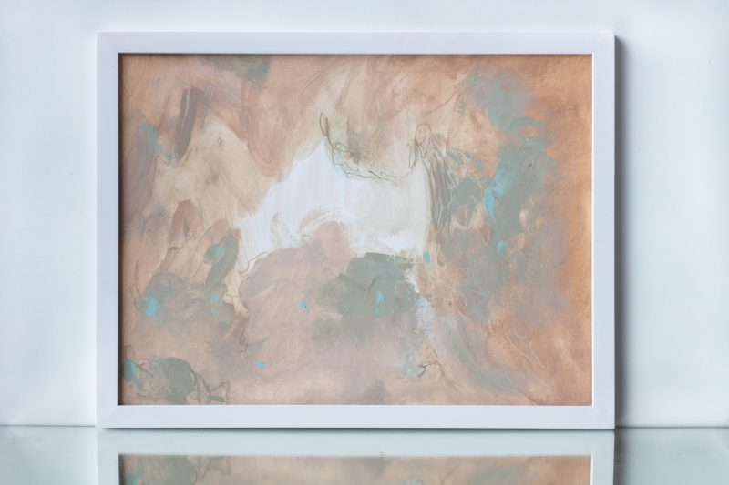 painting on paper ocher turquoise