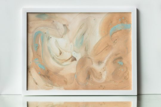 painting on paper ocher teal